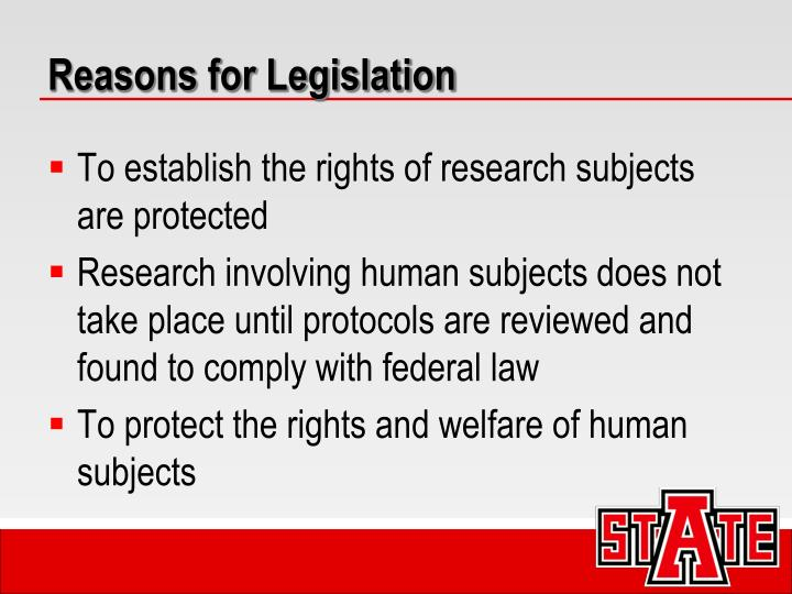 Reasons for Legislation