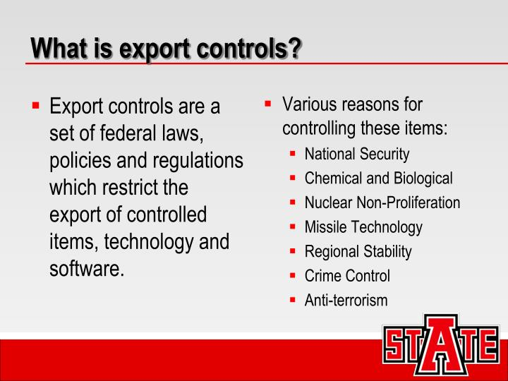 What is export controls?