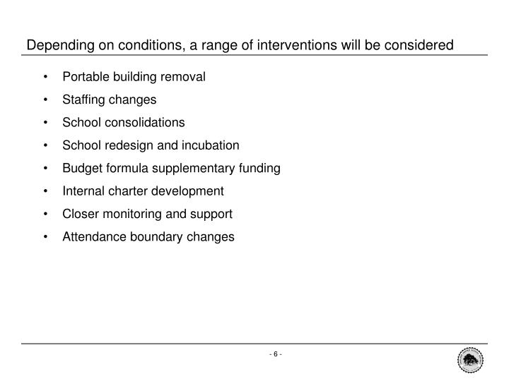 Depending on conditions, a range of interventions will be considered