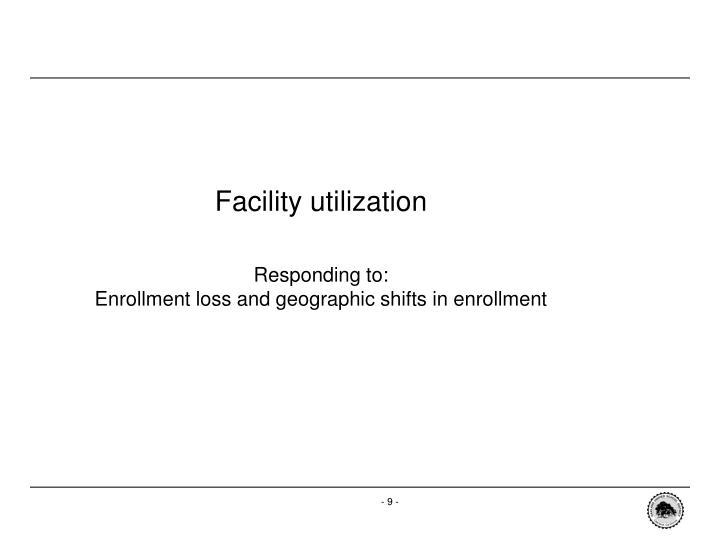 Facility utilization