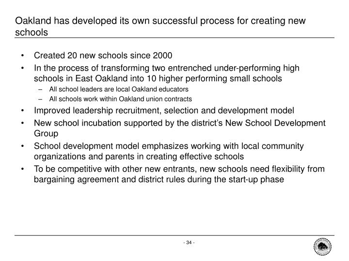 Oakland has developed its own successful process for creating new schools