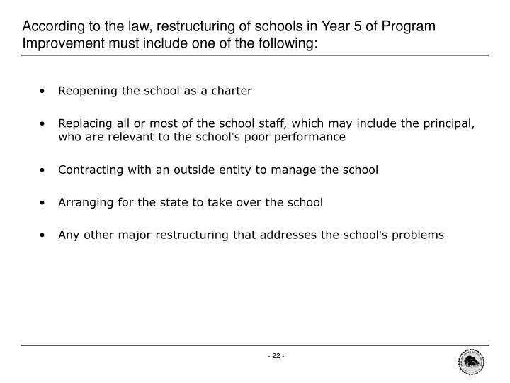 According to the law, restructuring of schools in Year 5 of Program Improvement must include one of the following: