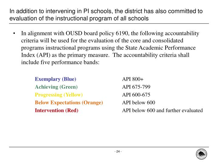 In addition to intervening in PI schools, the district has also committed to evaluation of the instructional program of all schools