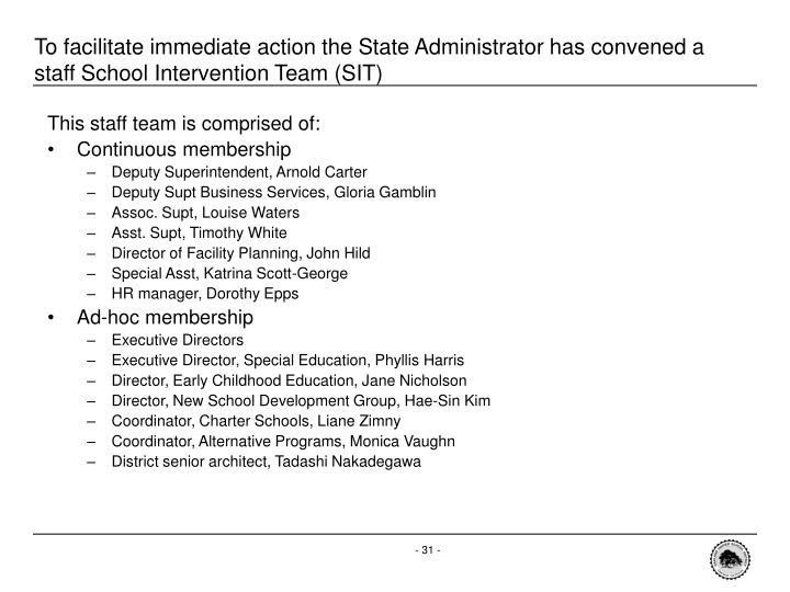 To facilitate immediate action the State Administrator has convened a staff School Intervention Team (SIT)