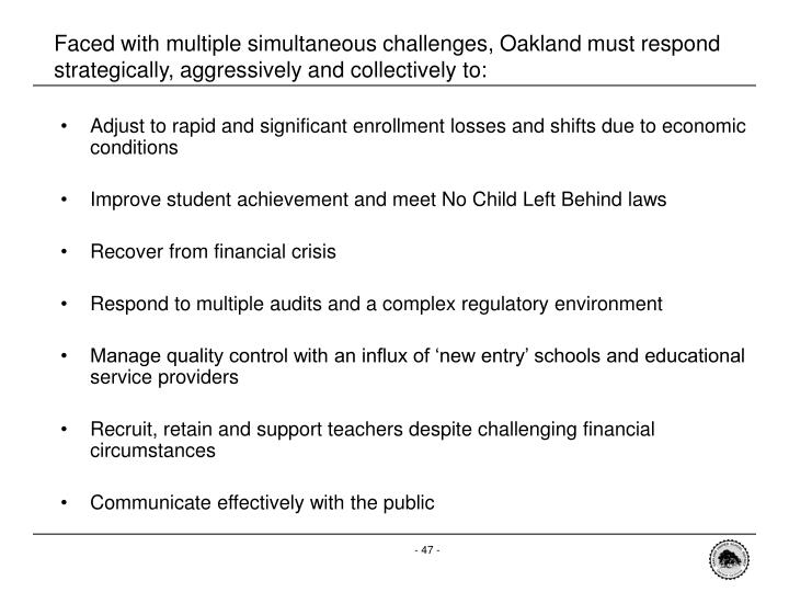Faced with multiple simultaneous challenges, Oakland must respond strategically, aggressively and collectively to: