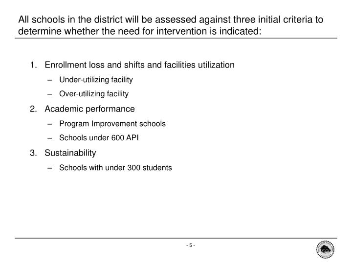All schools in the district will be assessed against three initial criteria to determine whether the need for intervention is indicated: