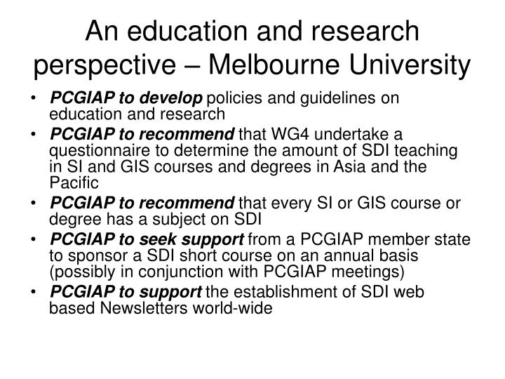 An education and research perspective – Melbourne University