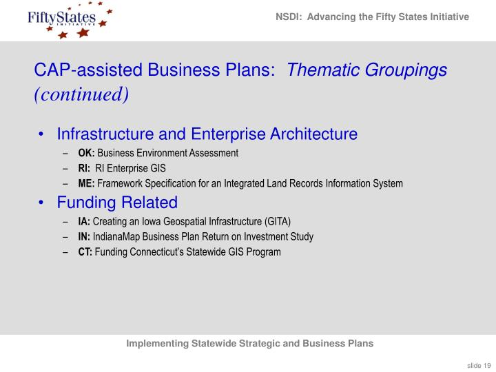 CAP-assisted Business Plans: