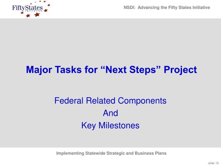 """Major Tasks for """"Next Steps"""" Project"""
