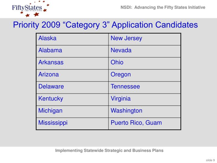 "Priority 2009 ""Category 3"" Application Candidates"