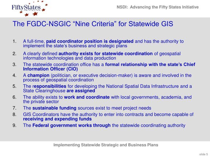 "The FGDC-NSGIC ""Nine Criteria"" for Statewide GIS"