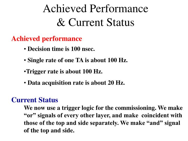 Achieved Performance