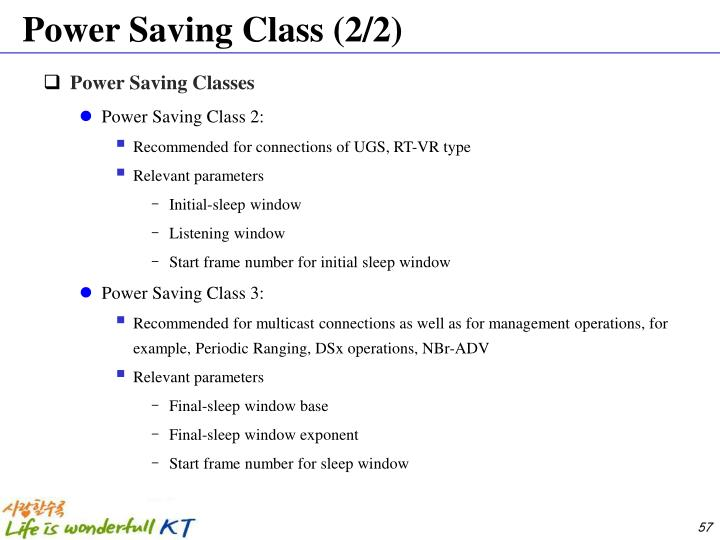Power Saving Class (2/2)