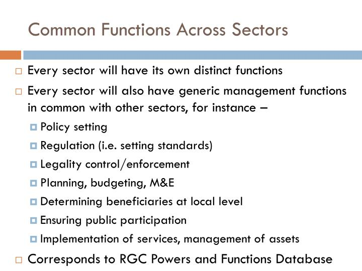 Common Functions Across Sectors