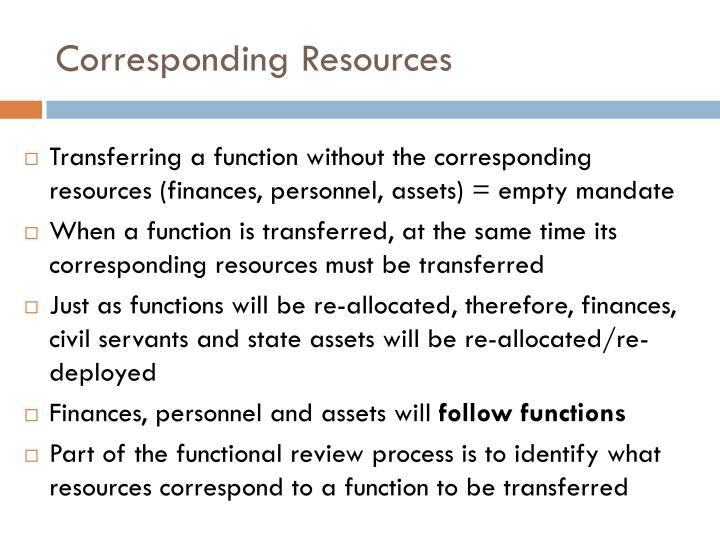Corresponding Resources
