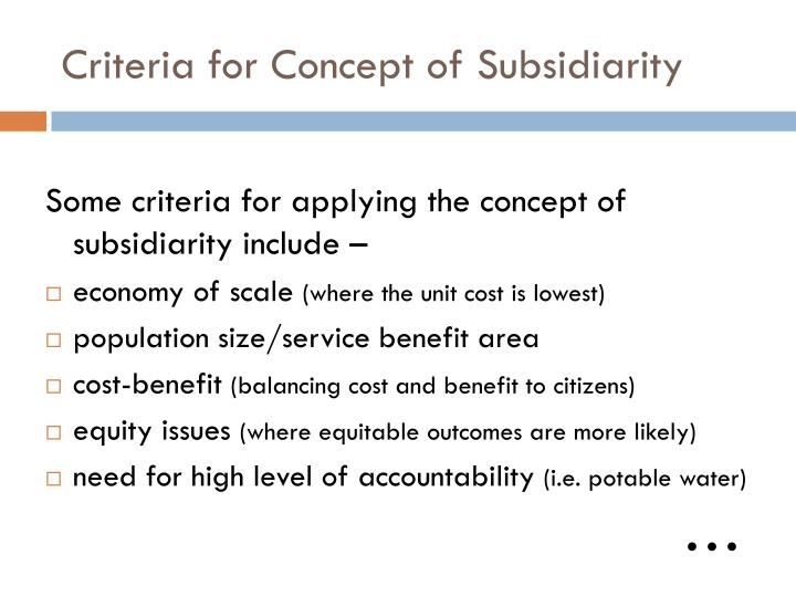 Criteria for Concept of Subsidiarity