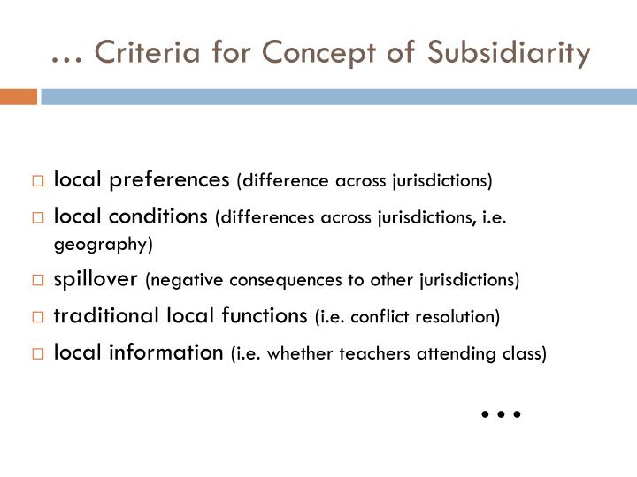 … Criteria for Concept of Subsidiarity
