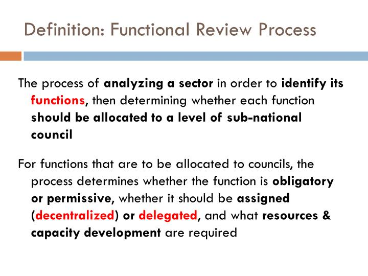 Definition: Functional Review Process
