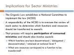 implications for sector ministries