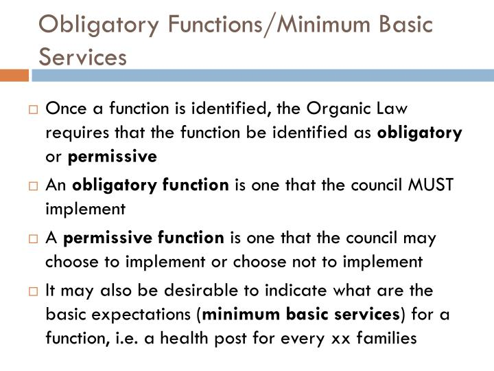 Obligatory Functions/Minimum Basic Services