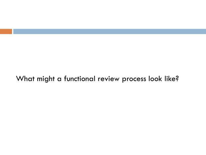 What might a functional review process look like?