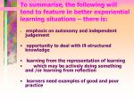 to summarise the following will tend to feature in better experiential learning situations there is