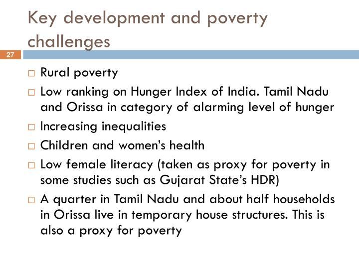 Key development and poverty challenges