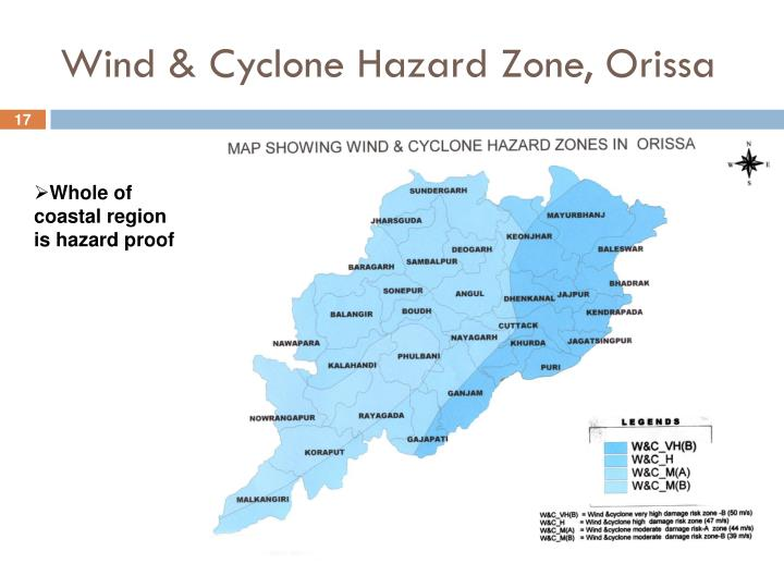 Wind & Cyclone Hazard Zone, Orissa