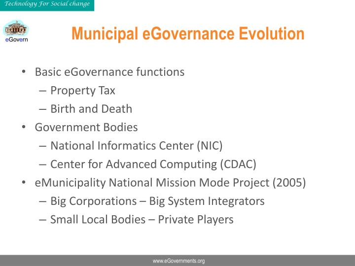 Municipal eGovernance Evolution