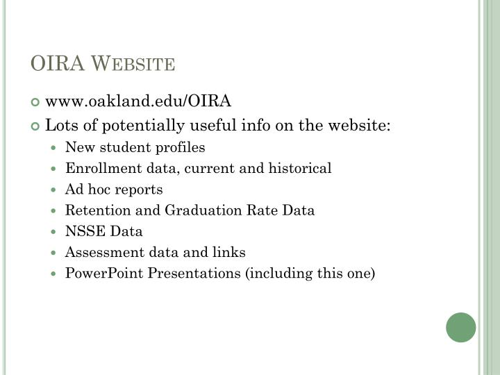 OIRA Website