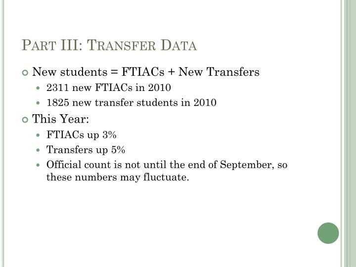 Part III: Transfer Data