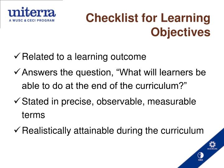 Checklist for Learning