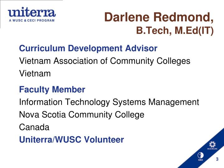 Darlene redmond b tech m ed it