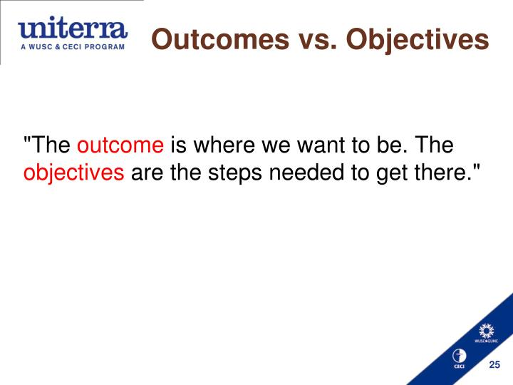 Outcomes vs. Objectives