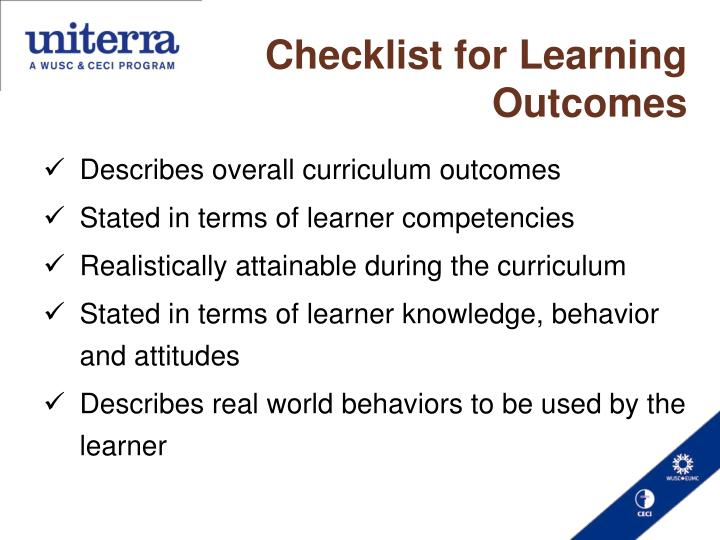 Checklist for Learning Outcomes