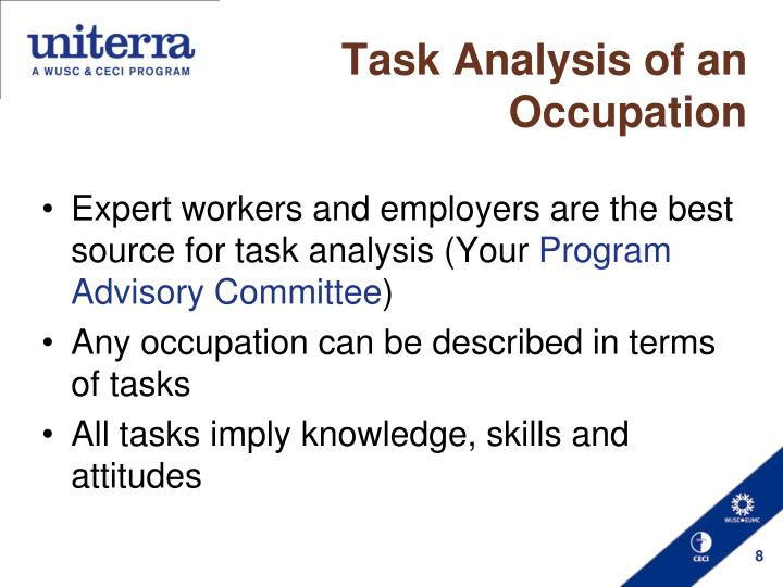 Task Analysis of an Occupation