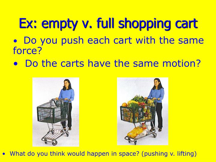 Ex: empty v. full shopping cart