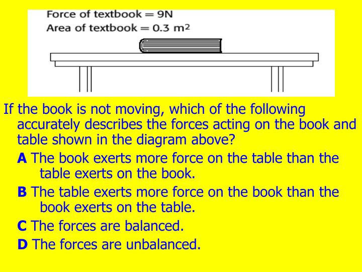If the book is not moving, which of the following accurately describes the forces acting on the book and table shown in the diagram above?