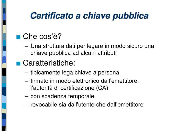 Certificato a chiave pubblica