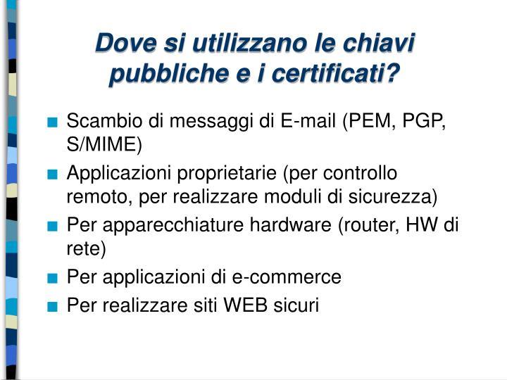 Dove si utilizzano le chiavi pubbliche e i certificati?