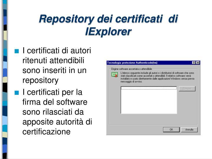 Repository dei certificati  di IExplorer