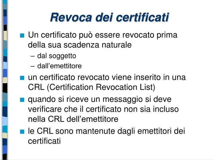 Revoca dei certificati