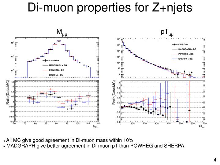 Di-muon properties for Z+njets