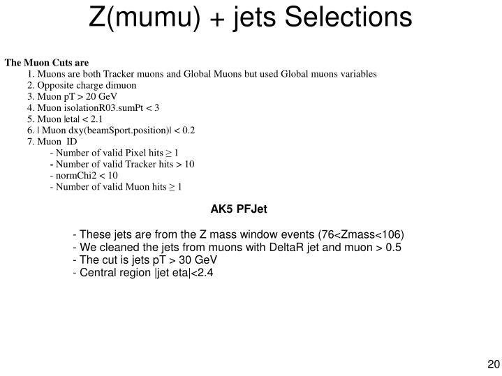 Z(mumu) + jets Selections