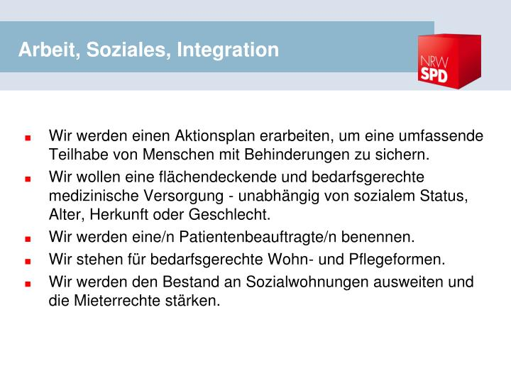 Arbeit, Soziales, Integration