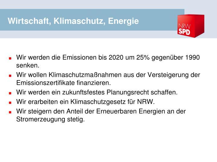 Wirtschaft, Klimaschutz, Energie
