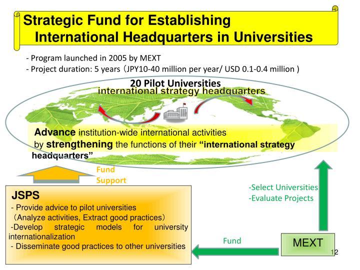 Strategic Fund for Establishing