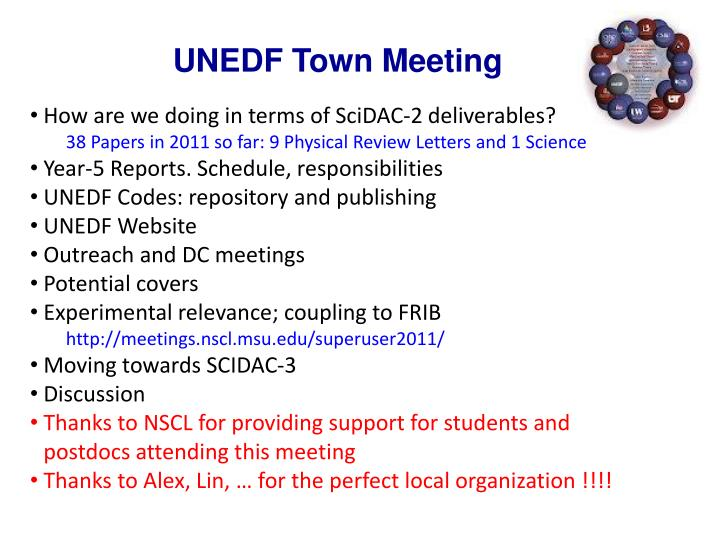 UNEDF Town Meeting