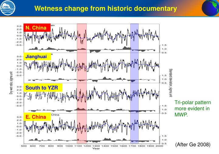 Wetness change from historic documentary