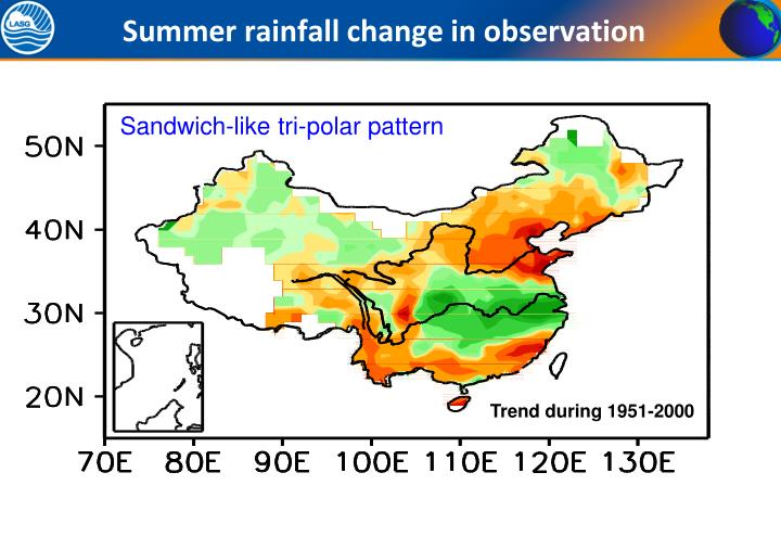 Summer rainfall change in observation